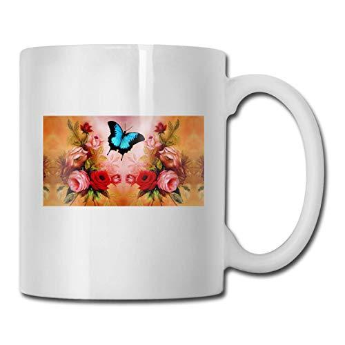 Daawqee Becher Porcelain Coffee Mug Butterfly Red Rose Ceramic Cup Tea Brewing Cups for Home Office (Ruhestand Für Den Mittelstücke)