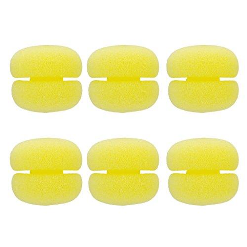Homyl 6pcs Suave Bola de Esponja de Alta Elasticidad Ideal Uso para Rizar de Pelo mientras Dormir - Amarillo