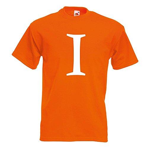 KIWISTAR - Zahl 1 - Zahlen Nummern T-Shirt in 15 verschiedenen Farben - Herren Funshirt bedruckt Design Sprüche Spruch Motive Oberteil Baumwolle Print Größe S M L XL XXL Orange