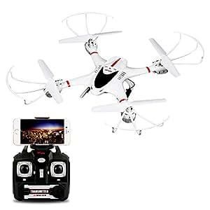 MJX X400C Nuovissimo Quadricottero Gyro RC Wifi FPV 3D Flip 4CH 2.4GHz 6- assi Modalità Headless Funzione di ritorno automatico Drone RC con camera 0.3MP e protezioni corpo compatibile con iOS ed Android