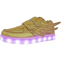 Zapatos de Ala, WINNEG Chicos Chicas USB Recargable Led Encender Zapatillas con Alas (31 EU, Oro)