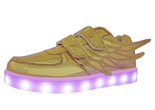 Scarpe da ali, winneg bambini led lampeggiante con 7 colori usb ricaricabile scarpe per ragazzi e ragazze (35 eu, oro)