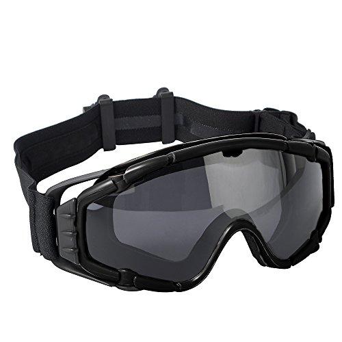 Schutzbrille Snowboardbrille Wind Staubschutzbrille taktische Brille schwarz mit Ventilator für Outdoor Airsoft Skifahren Radfahren Motorrad