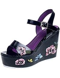 ❤ABsoar Sandalias Bohemia De Tacón De Aguja Impresas para Mujeres Moda Mujeres Zapatos De CuñA