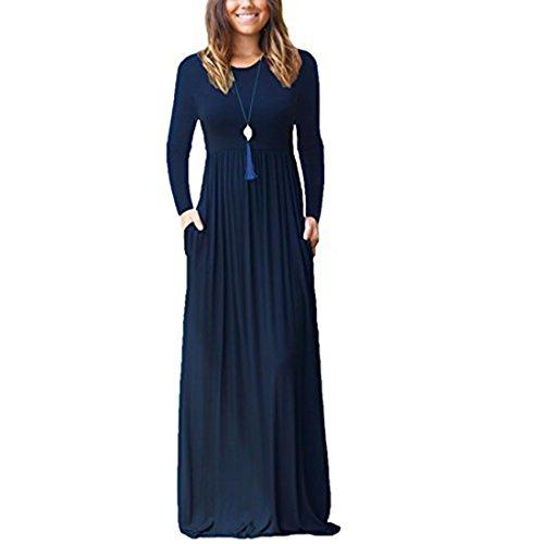 Damen Lange Kleider Langarm lose Plain Maxi Kleider Casual mit Taschen (Langarm-maxi-kleid-blau)