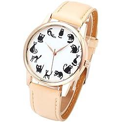 JSDDE Fun Animal Series Twelve Cute Cats Scale Rose Golden Case PU Leather Strap Womens Girls Quartz Wrist Watch,Beige