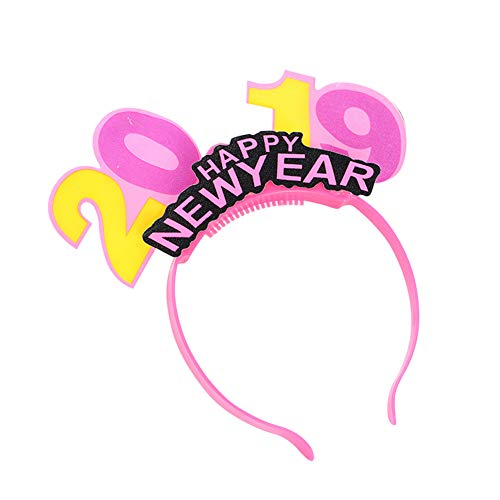 Derkoly LED Hair Hoop Headband Happy New Year Luminous 2019 Number Christmas Party Decor-Pink