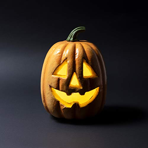 Lights4fun - zucca di halloween decorativa con led a pile