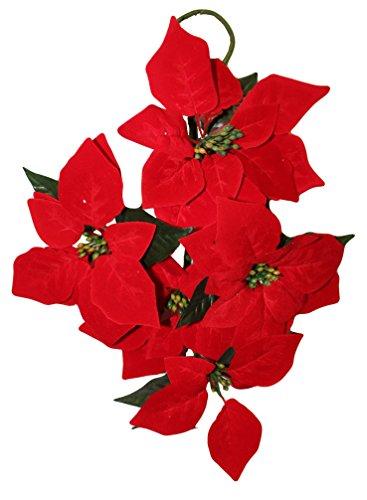 Glooke selected mazzo pendente con 5 fiori stella natale rossa c&x