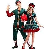 HEITIGN Costume da Elfo di Natale, Lussuoso Bellissimo Vestito da Elfo Costume Set Vestito Rosso Verde Vestiti per Uomini/Donne Adulti Completo Kit Costume Cosplay Spettacolo, M, Uomini