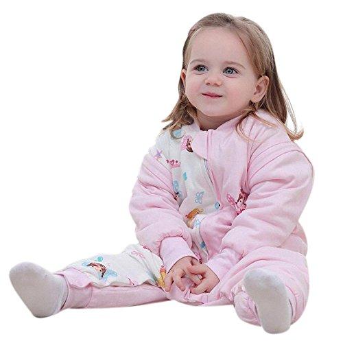 Babys Schlafsack mit langen Ärmeln mit Füssen kinder Winterschlafanzug aus Baumwollen Junge und Mädchen pyjama/overall/Strampler.mit dicker für 1-5 jährige. (Rosa Engel, L: 85-95 cm)