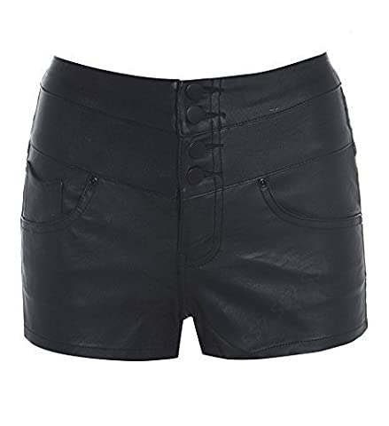 SS7 Women's Faux Leather High Waist Shorts, Black, Sizes 6 to 14 (UK - 12, Black)