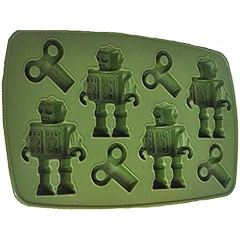 Silicona huntgold los Robots del congelador bandeja del cubo de hielo molde señect, verde