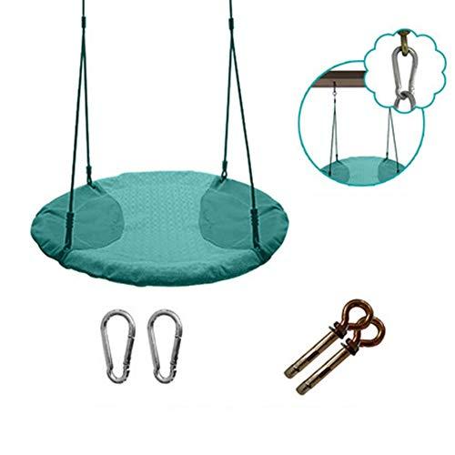 SHARESUN Kinderscheibenschaukel, robuster Stahlrahmen, wasserdicht, hochtemperatur- und UV-beständig. Einfach zu montierender Sitz mit Schmetterlingsfederung, Durchmesser 100 cm,Green,L