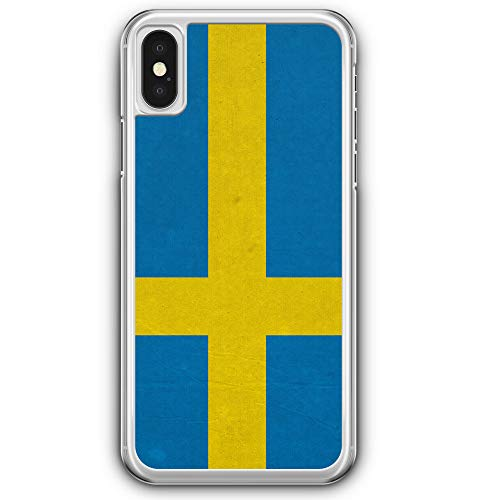 Schweden Flagge - Hülle für iPhone X - Motiv Design Sweden Sverige - Cover Hardcase Handyhülle Schutzhülle Case Schale Flagge Cover
