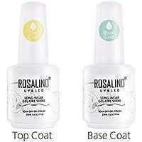 ROSALIND 2PCS Top Coat Base Coat Semipermanente Esmalte Uñas Gel Laca Soak Off UV Manicura Arte 15ML