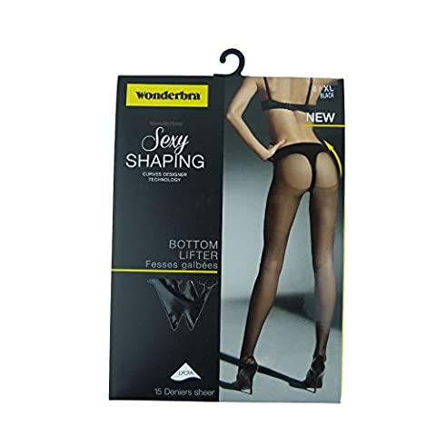 Wonderbra Sexy Shaping Bottom Lifter With Built In 15 Denier Sheer Tights W00LY [M / 10-12, Black, W00LY/3AM,