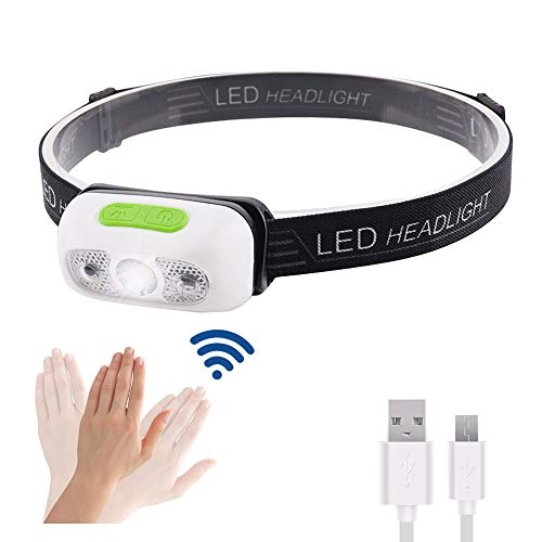 Stirnlampe LED USB Aufladbar, Sensor Kopflampe Wasserdicht Super Helle, Karrong Mini Leicht Stirnlampe, 5 Modi Perfekt für Erwachsene Kinder Outdoor Joggen Laufen