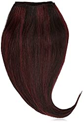 1st Lady Silky Straight Natural European Weft Human Hair Extension with Premium Blend Weave, Number 1b/99J, Off Black/Dark Wine, 10-Inch