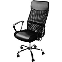 Black Desk Chair Executive Office Swivel Desk Chair PC Furniture - 49 x 50 centimeters Armchair Made of Synthetic Leather PU - High Back