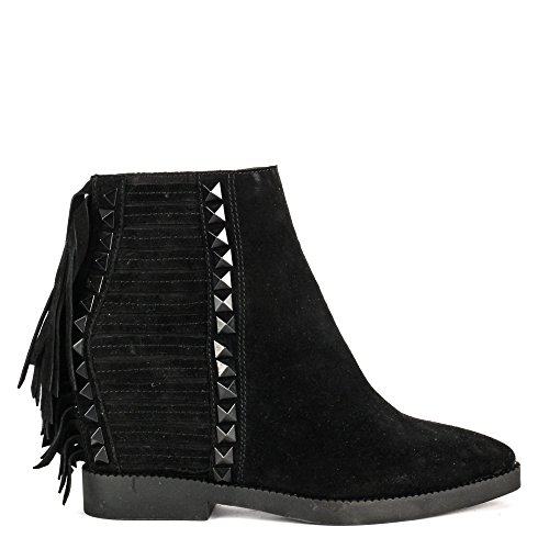 Ash GLORY Fringed Wedge Boots Black Suede & Studs 38 Black