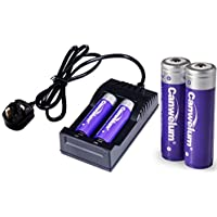 Canwelum Protected 18650 Battery and Charger, Rechargeable 18650 Li-ion Battery 3.7V - Applicable for LED Torch, Head Torch, Not for Electronic Cigarettes (4 x Batteries and 1 x Charger)
