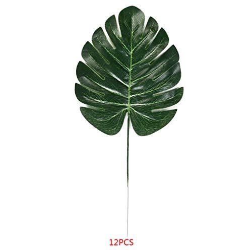 fish 12st Tropical künstliche grüne Blätter Kunststoff Silk Fälschungs-Blatt Pflanze Indoor Outdoor-Hochzeit Home Decor