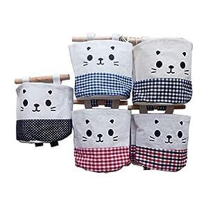 Addfun®Linen Cotton Fabric Cartoon Wall Pouch Wall Door Closet Hanging Storage Organizer Bag Key Holder Gadget Pouch Bag,Pack of 5