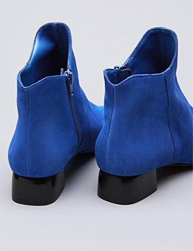 FIND Bottines Daim Pointues Zippées Femme Bleu (Blue)