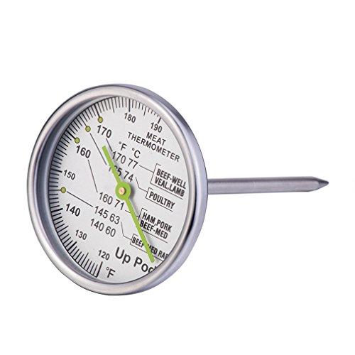 Uppod Progenaue Bratenthermometer aus Edelstahl spülmaschinengeeignet Thermometer-Extra großes Zifferblatt silber Smoker-thermometer Weber