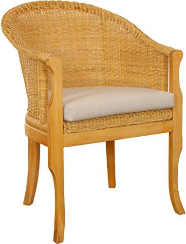 korb.outlet Rattan-Sessel mit Holzbeinen, Sessel aus echtem Rattan - Rattanstuhl Club (Honig, mit Polster)