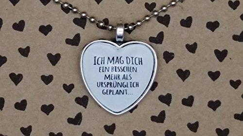 Spruchkette by Perletta 80 cm silberne Kugelkette mit 2,5 cm Herz-Anhänger Ich mag dich ein bisschen mehr als ursprünglich geplant Liebe Liebeserklärung Geschenk Valentinstag