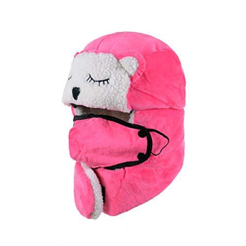 -Mütze Bomberhüte Winter Plus Samt Dicke Winddichte Kopfhörer Hut Lei Feng Hut Pilot Hut,Children's(Cat)-Rosered ()