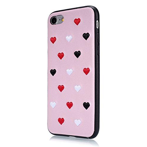 iPhone 7 Étui Soft TPU,iPhone 7 Case Cristal Clair,Hpory Beau élégant Luxury Ultra Thin Soft TPU Gel Silicone Cristal Clair Bling Brillant Miroir Placage Slim Fit Housse de Protection pour Fille Femme Rose