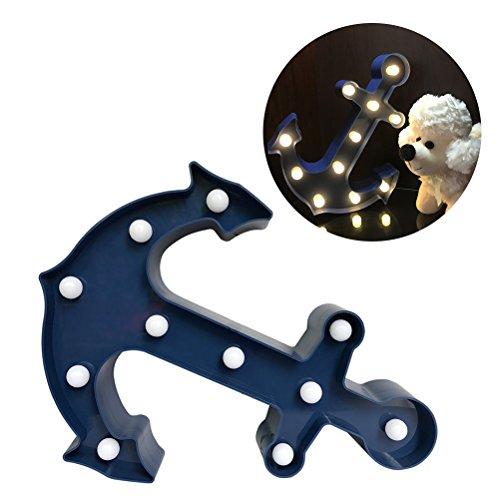 LEDMOMO 11Pcs LED-Lampe beleuchtete Anker-Zeichen-Wand-Dekor, batteriebetriebenes Kind-Schlaf-Zeichen Warmes weißes Nachtlicht-Kinderzimmer-Anker-Dekor (blau) (Kinder-wand-dekor)