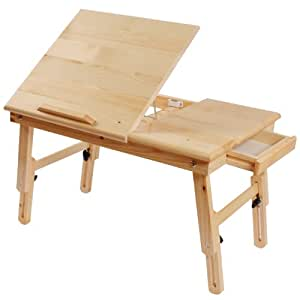 Table tablette de lit pliable double plateaux en bois pour for Petite table pour ordinateur portable