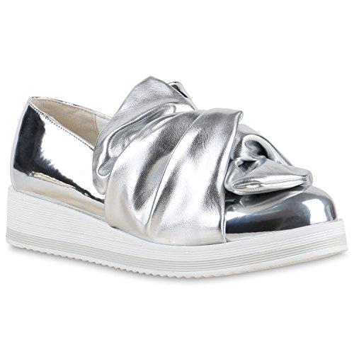 Stiefelparadies Funky Damen Slipper Lack Profilsohle Plateau Loafers Lack Schuhe 129691 Silber Schleife Lack 39 Flandell