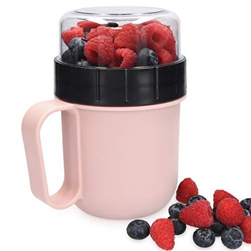 Navaris Müslibecher To Go Becher Lunchbox Brotdose - Behälter für Joghurt, Müsli oder Suppe - Box zur Trennung von Zutaten - spülmaschinenfest