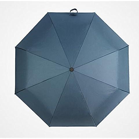 Soleggiato Ombrello commerciali automatici Venti Ultra-light Piegato solido ombrello di colore ( colore : Blu )