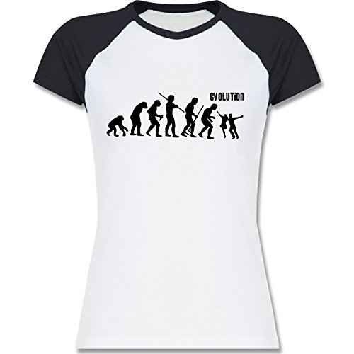 Evolution - Tanz Evolution - zweifarbiges Baseballshirt / Raglan T-Shirt für Damen Weiß/Navy Blau