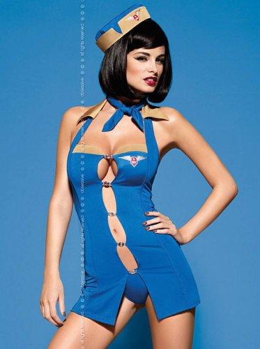 Obsessive Stewardess-Kostüm, (Air Hostess Kostüm Hut)