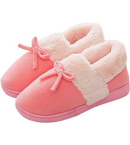 21e081123 Minetom Mujer Hombre Invierno Interior Zapatillas De Estar Por Casa Pareja  Felpa Skidproof Bowknot Algodón Zapatos - Compra pijamas y zapatillas casa