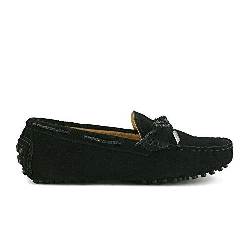 ShenDuo Damen Leder Mokassins mit Binden Casual Slipper Sommer Schuhe D7051 Schwarz