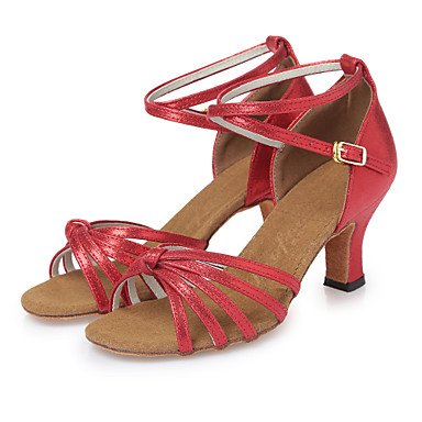 Scarpe da ballo-Non personalizzabile-Da donna-Balli latino-americani-Quadrato-Finta pelle-Rosso / Dorato Red