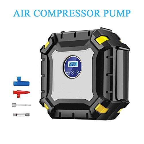 MINCHEDA Auto Compressore d'Aria Portatile per Gonfiaggio Pneumatici LCD Digitale con Luce LED, 12V DC 100 PSI per Auto, Camion, Moto, Bici, Palline, Gonfiabile Beds