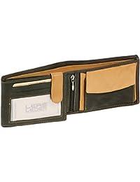 Damen und Herren klassische Ledergeldbörse Scheintasche im Querformat LEAS MCL in Echt-Leder, schwarz-beige - ''LEAS Arrow-Line''