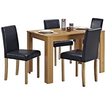 dining table chairs leather. dining table and 4 chairs with faux leather oak furniture room set g
