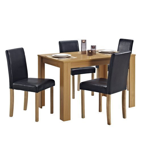 Dining Table and 4 Chairs with Faux Leather Oak Furniture Room Set…