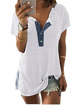 Gusspower Hipster Mujer Suelta Camisetas con Botón Divertidas Redondo Cuello V Casual Algodón Para Estampar T-Shirt