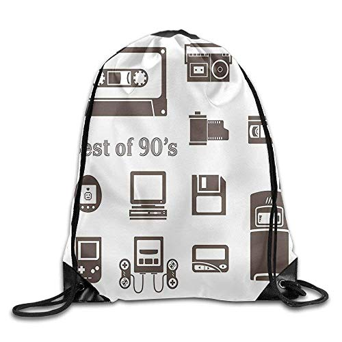OQUYCZ Gadget of 90s Icons Pattern with Desktop Computer Video Game Joystick Nostalgia Theme Mountain Gym Backpack (Desktop-flags)